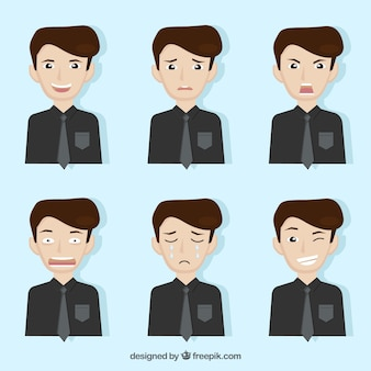 Businessman character with a collection of facial expressions