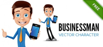 Businessman character with a iphone and blue shirt