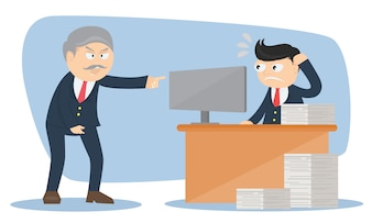 Businessman character with angry boss cartoon vector design