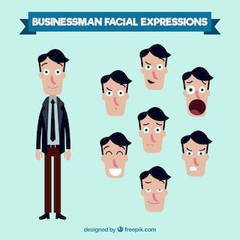 Businessman character with different expressive faces
