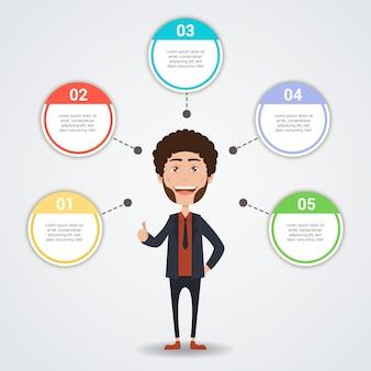 インフォグラフィックテンプルを持つビジネスマンのキャラクター