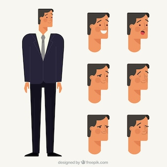 Businessman character with several facial expressions