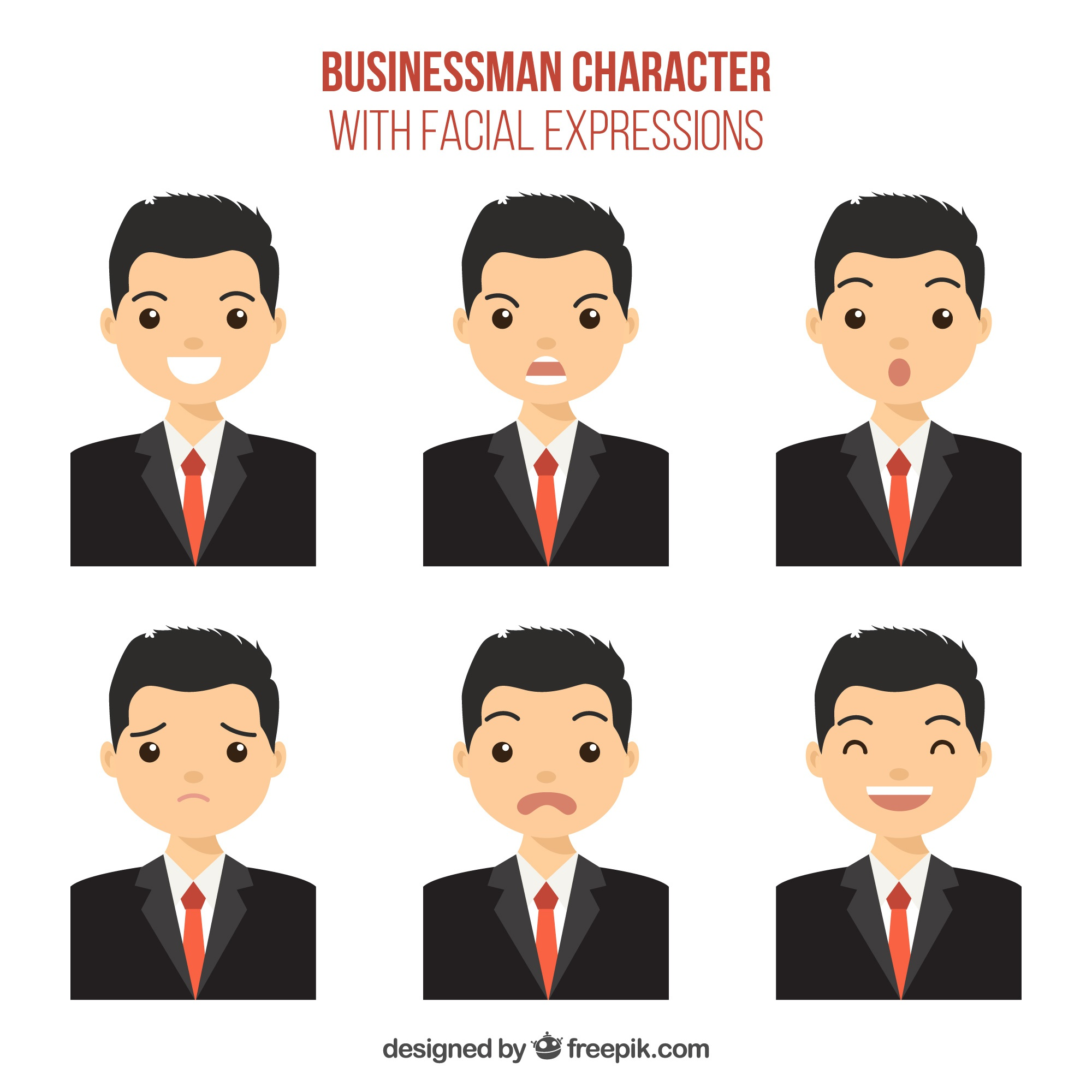 Businessman character with six facial expressions