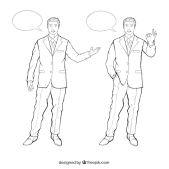 Businessman characters with different postures and speech bubbles