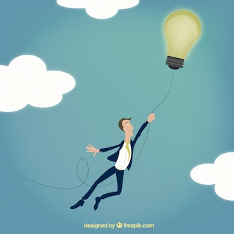 Businessman flying with an idea