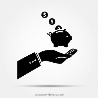 Businessman hand with piggybank