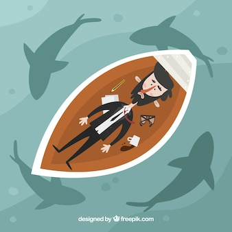 Businessman in a boat surrounded by sharks