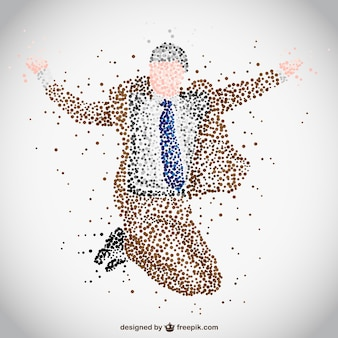 Businessman jumping made of dots