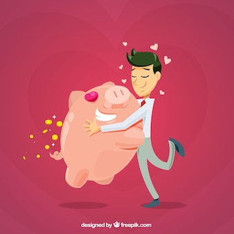 Businessman love background with his piggy bank