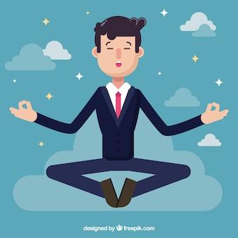 Businessman meditating in flat design