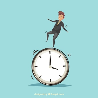 Businessman on top of a clock