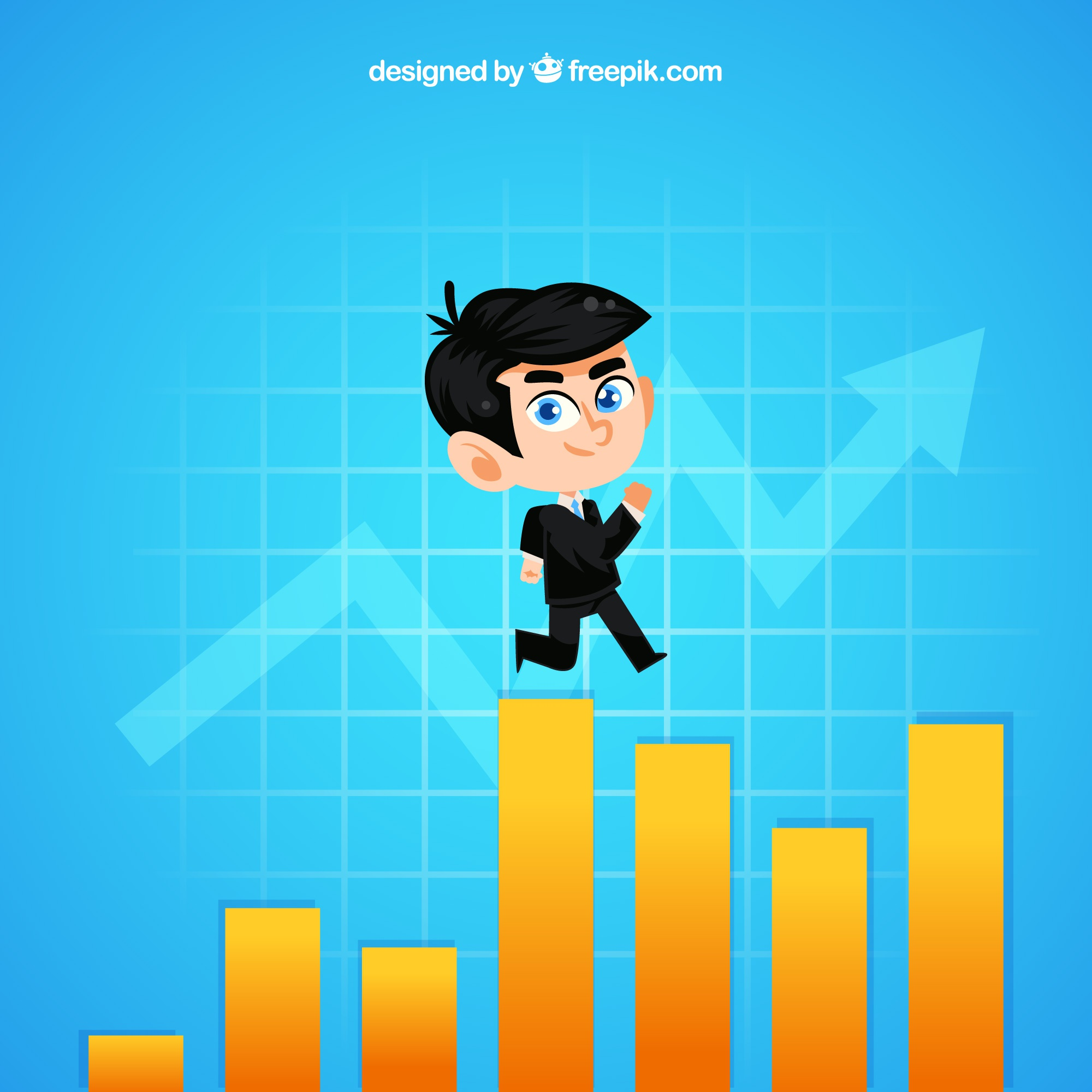 Businessman on top of a graph