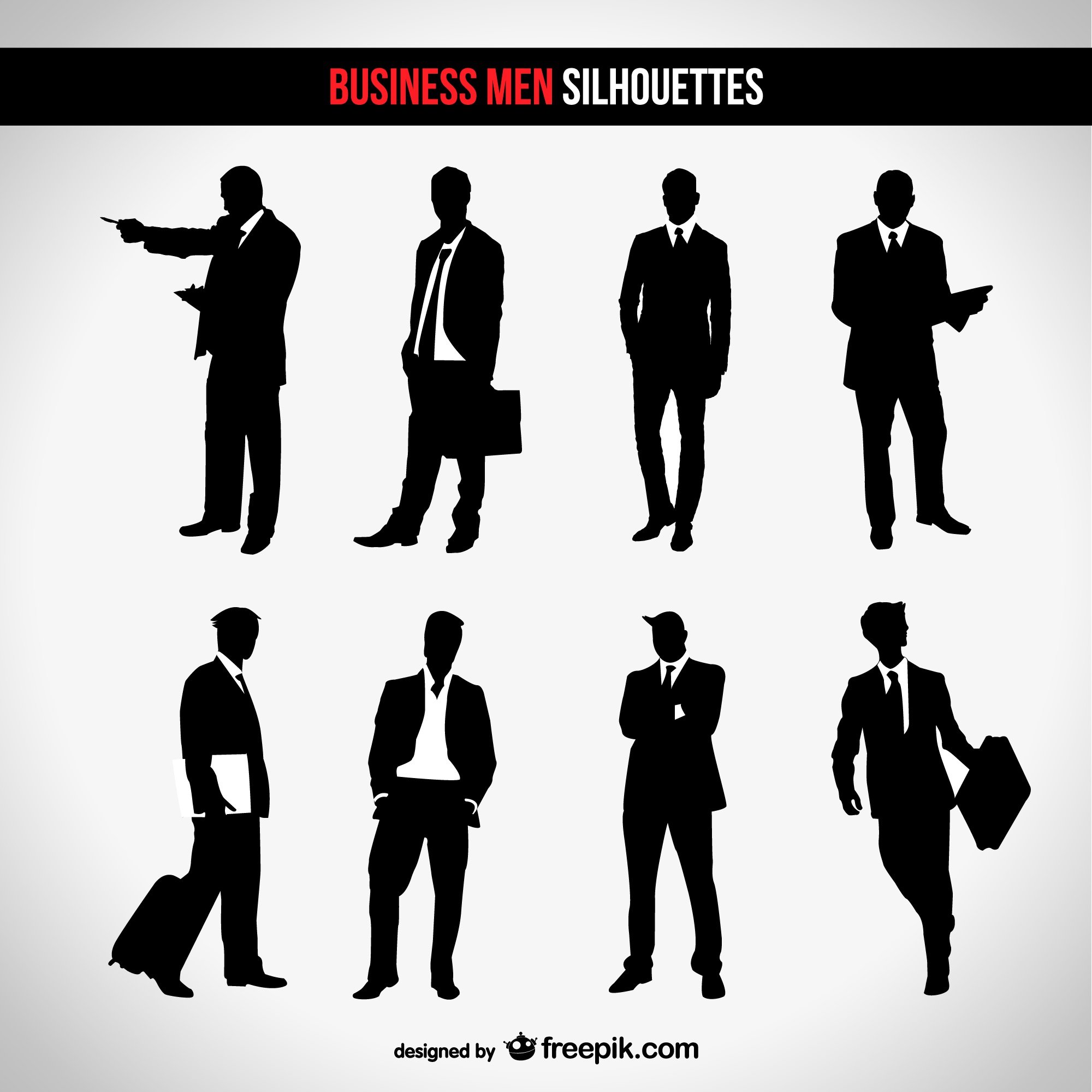Businessman silhouette set