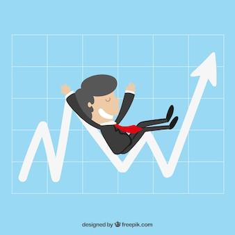 Businessman sitting on a graph