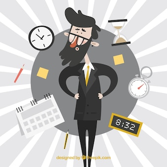 Businessman surrounded by clocks