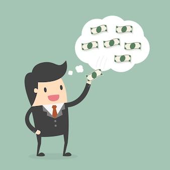 お金について考えるビジネスマン