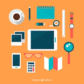 Businessman tools and electronic devices