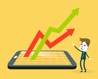 Businessman watching smartphone with stock market application and growth graph.