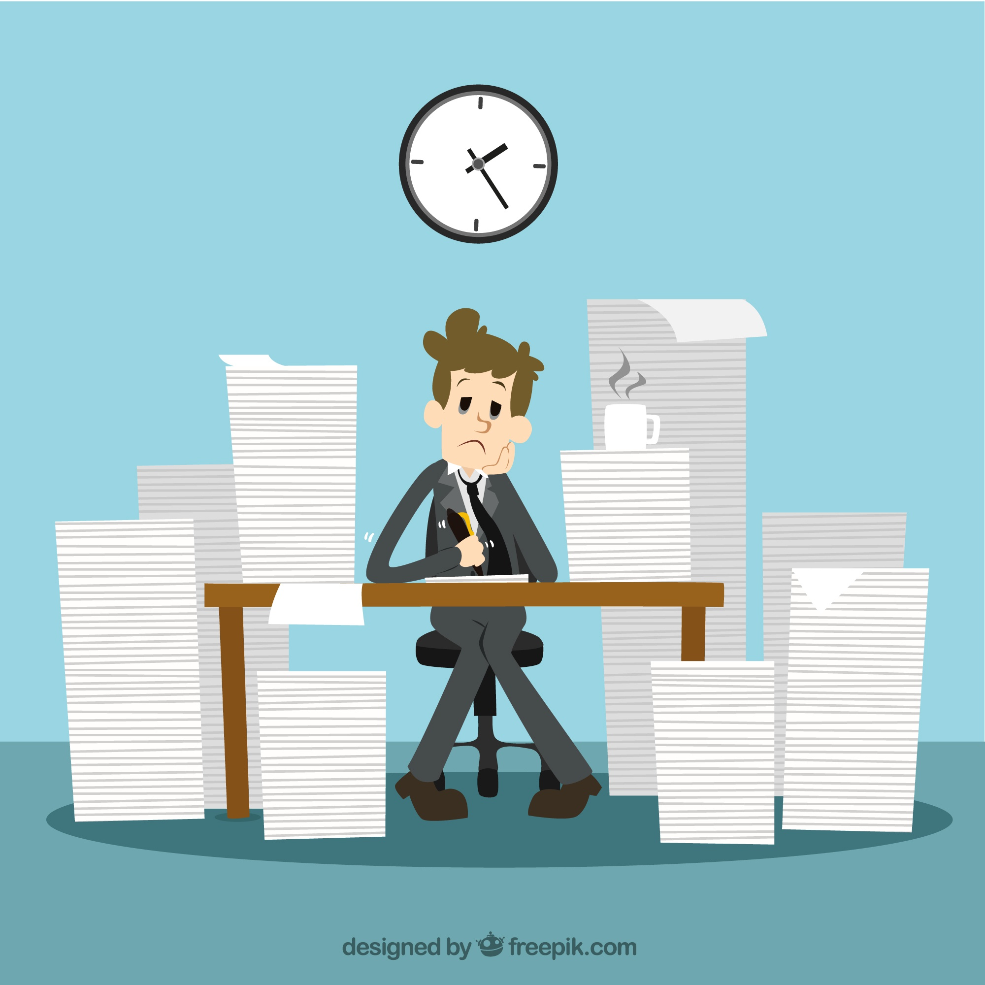 Businessman with a lot of work