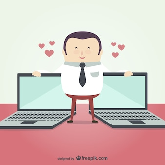 Businessman with laptops