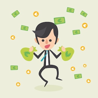 Businessman with money bags background