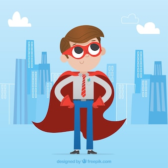 Businessman with red mask and cape