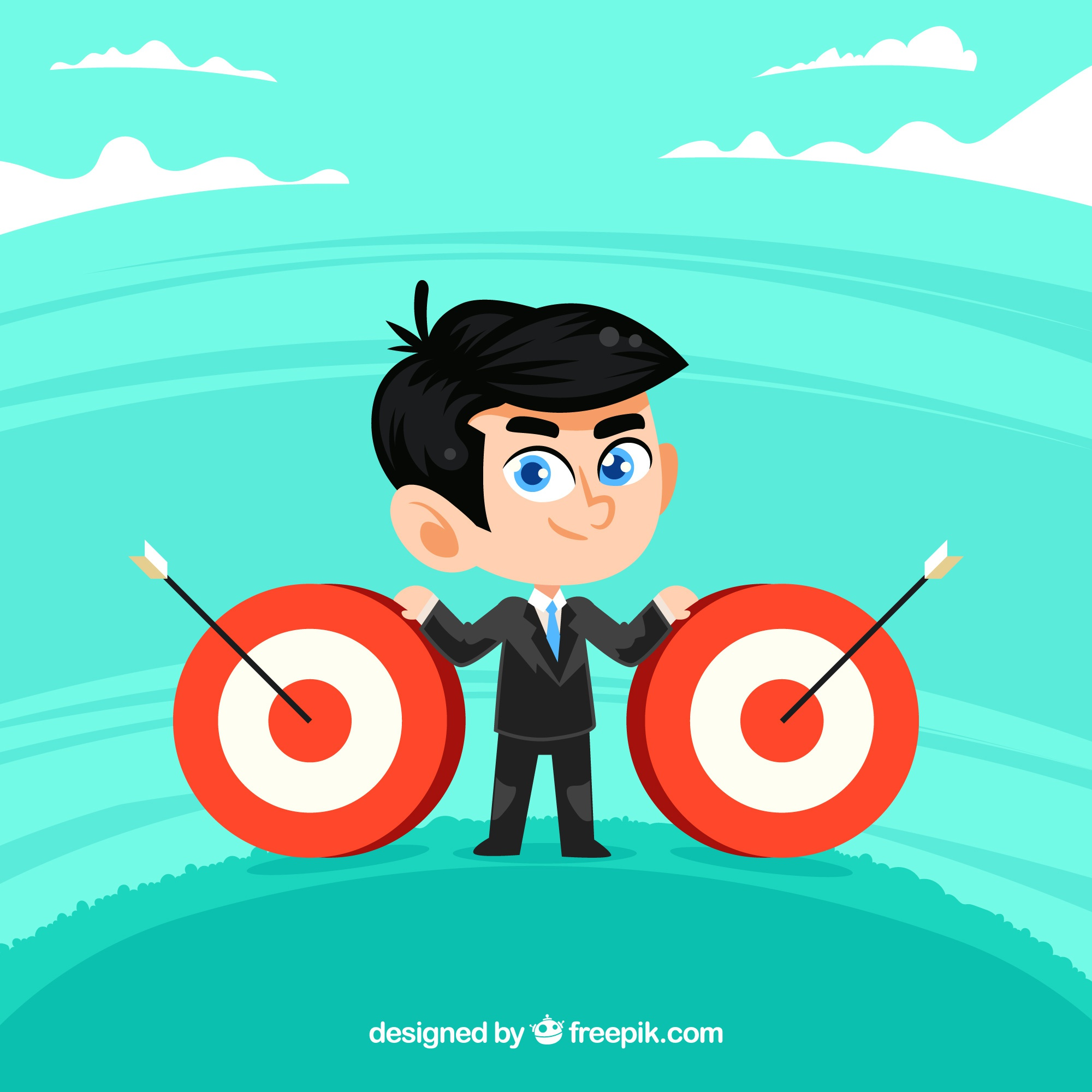 Businessman with targets