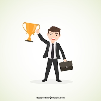 Businessman with trophy and briefcase