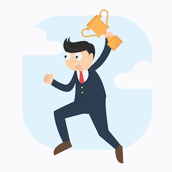 Businessman with trophy character cartoon vector design