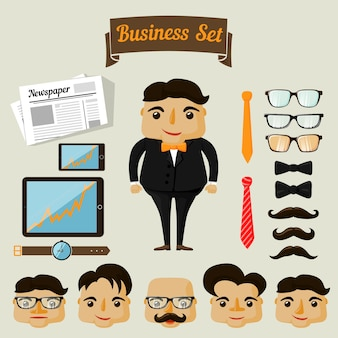 Businessman with variety of accessories