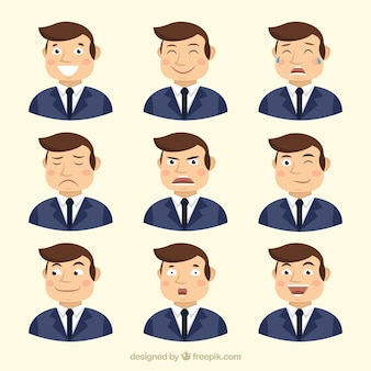 Businessman with variety of facial gestures