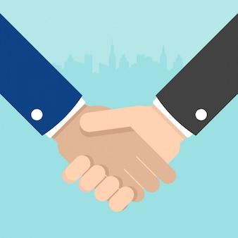Businessmen Hand Shake Flat Design Illustration