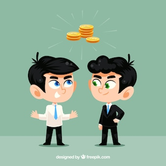 businessmen talking about money
