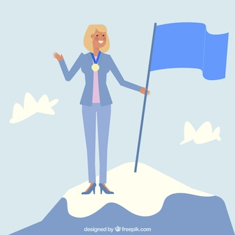 Businesswoman character on top of a mountain