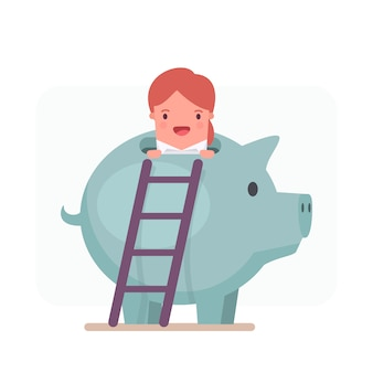 Businesswoman character peeping out from a piggy bank