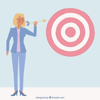 Businesswoman character shooting an arrow