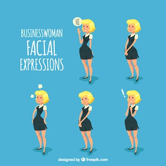 Businesswoman character with facial expressions