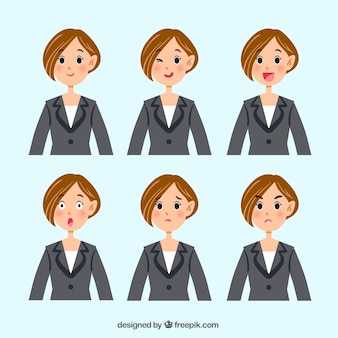 Businesswoman character with several facial expressions