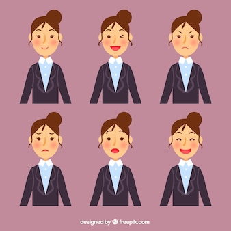 Businesswoman character with six facial expressions