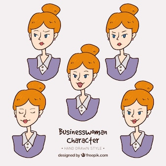 Businesswoman character with variety of expressive gestures