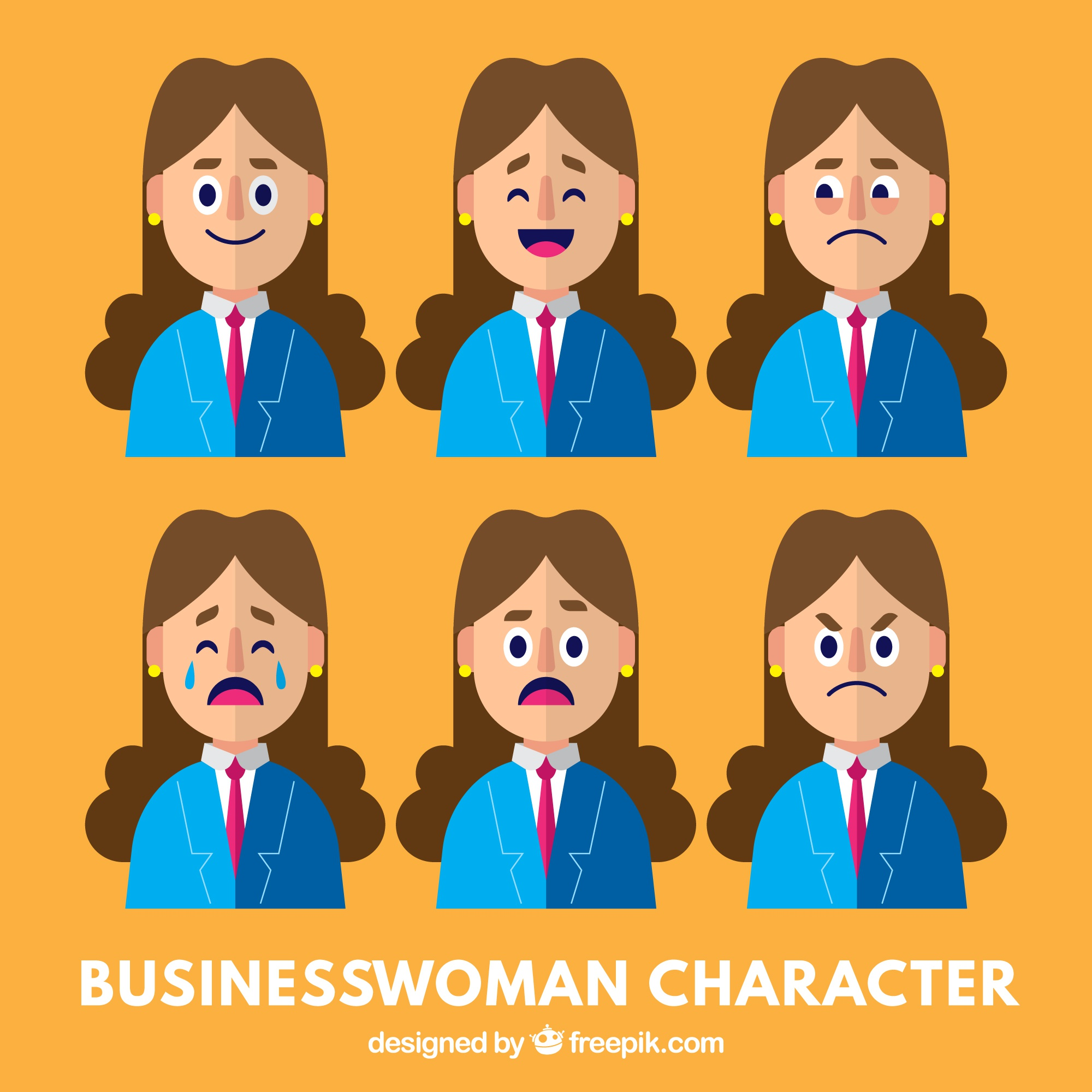 Businesswoman character with variety of facial expressions