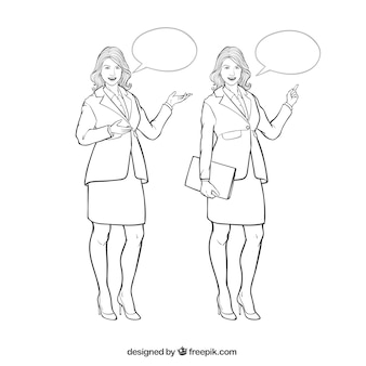 Businesswoman characters with speech bubbles