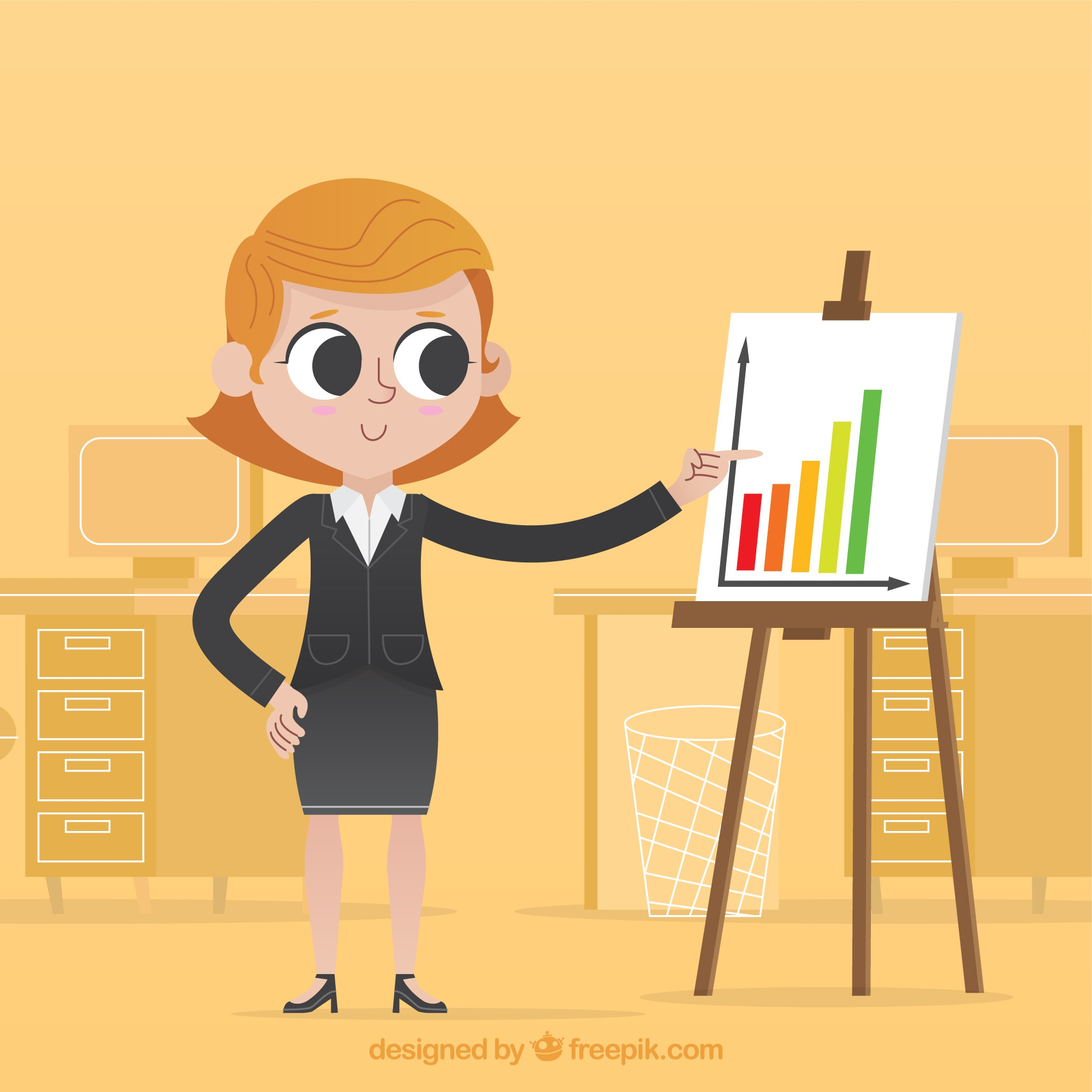 Businesswoman pointing at a graph