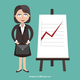Businesswoman with a chart