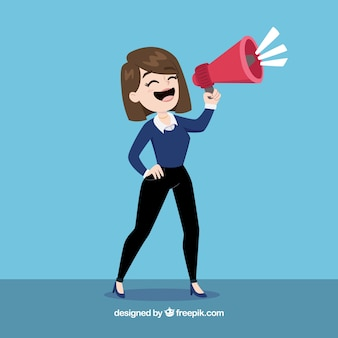 Businesswoman with a megaphone
