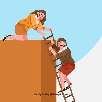 彼女のパートナーのはしごを持つビジネスマン