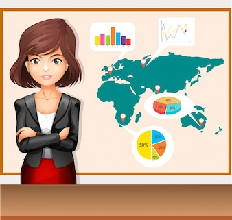 Businesswoman with worldmap and charts illustration