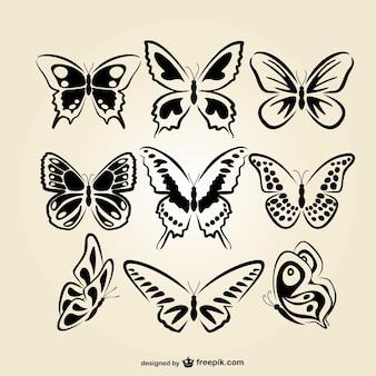 Butterflies line art set