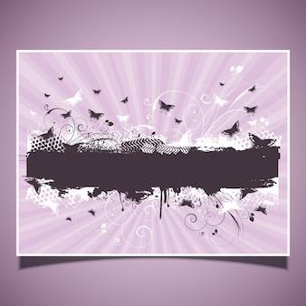 Butterflies on grunge background