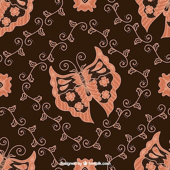 Butterfly batik floral background